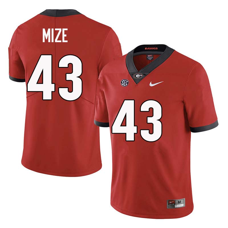 Men Georgia Bulldogs #43 Isaac Mize College Football Jerseys Sale-Red