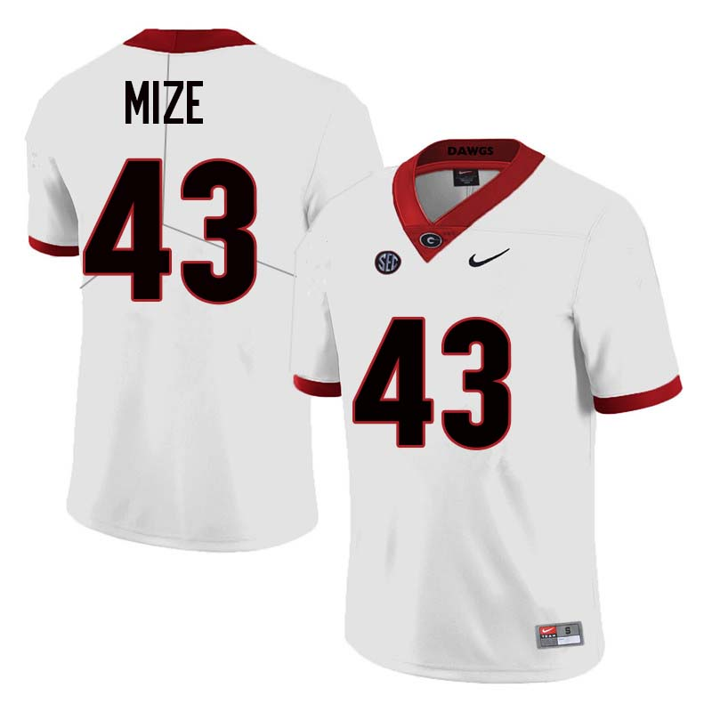 Men Georgia Bulldogs #43 Isaac Mize College Football Jerseys Sale-White