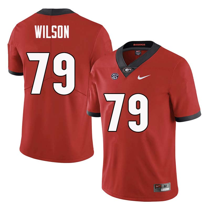 Men Georgia Bulldogs #79 Isaiah Wilson College Football Jerseys Sale-Red