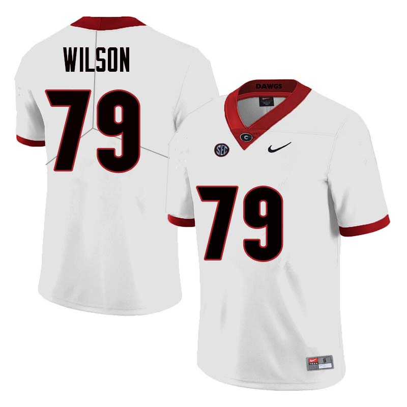 Men Georgia Bulldogs #79 Isaiah Wilson College Football Jerseys Sale-White
