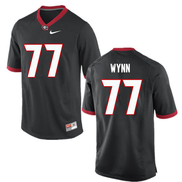 Men Georgia Bulldogs #77 Isaiah Wynn College Football Jerseys-Black