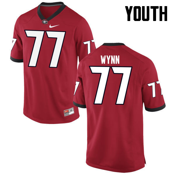 Youth Georgia Bulldogs #77 Isaiah Wynn College Football Jerseys-Red