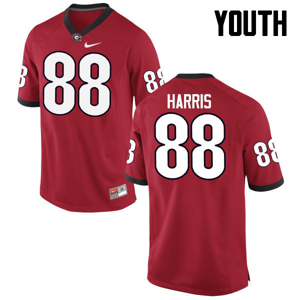 Youth Georgia Bulldogs #88 Jackson Harris College Football Jerseys-Red