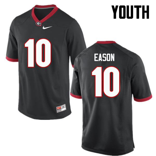 Youth Georgia Bulldogs #10 Jacob Eason College Football Jerseys-Black