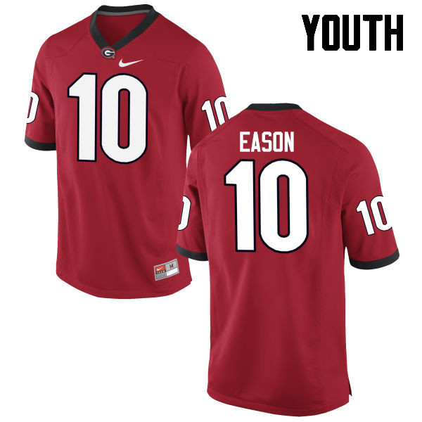 Youth Georgia Bulldogs #10 Jacob Eason College Football Jerseys-Red
