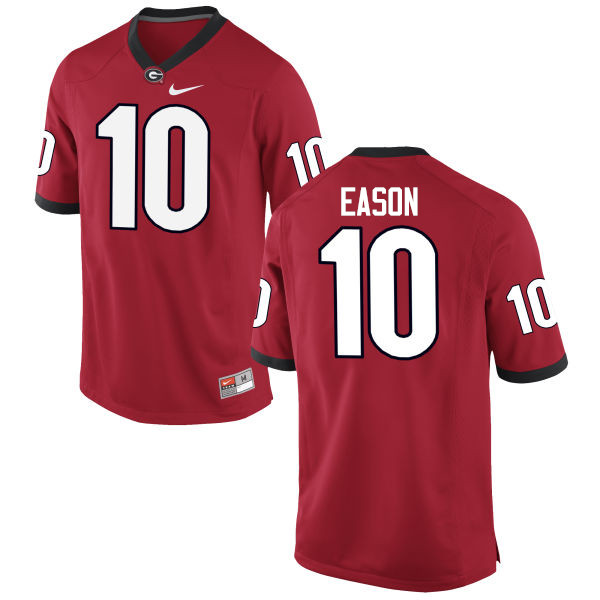 Men Georgia Bulldogs #10 Jacob Eason College Football Jerseys-Red