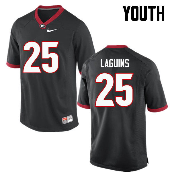 Youth Georgia Bulldogs #25 Jaleel Laguins College Football Jerseys-Black