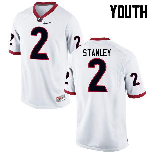 Youth Georgia Bulldogs #2 Jayson Stanley College Football Jerseys-White