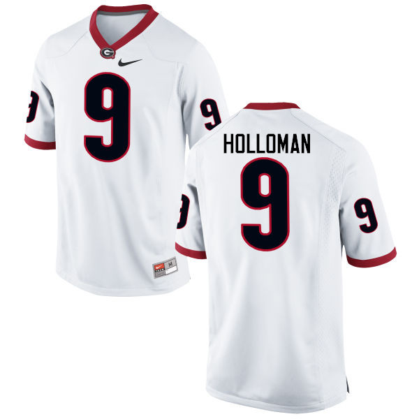 Men Georgia Bulldogs #9 Jeremiah Holloman College Football Jerseys-White