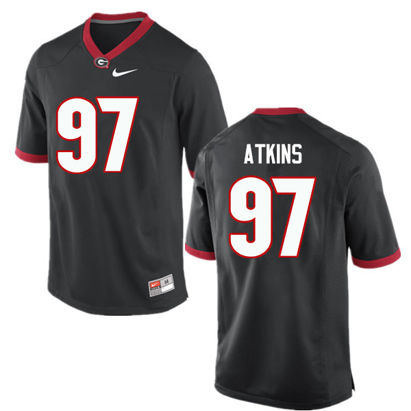 Men Georgia Bulldogs #97 John Atkins College Football Jerseys-Black