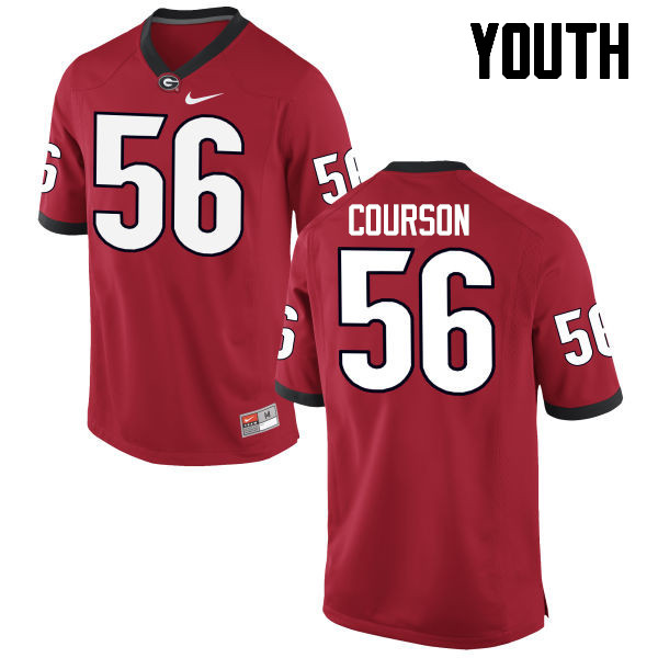 Youth Georgia Bulldogs #56 John Courson College Football Jerseys-Red