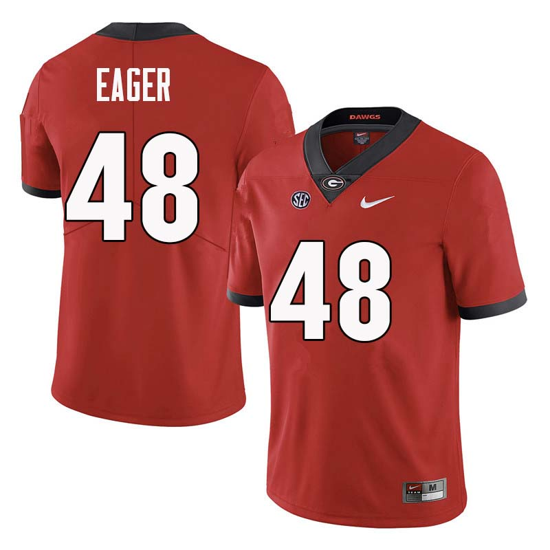 Men Georgia Bulldogs #48 John Eager College Football Jerseys Sale-Red