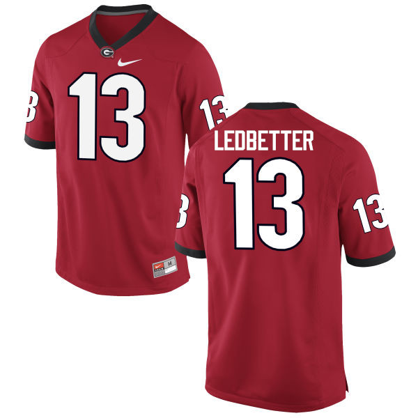 Men Georgia Bulldogs #13 Jonathan Ledbetter College Football Jerseys-Red