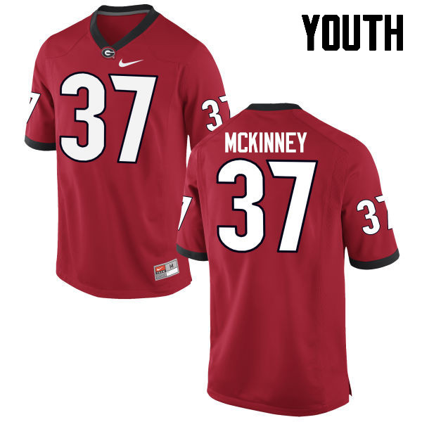 Youth Georgia Bulldogs #37 Jordon McKinney College Football Jerseys-Red