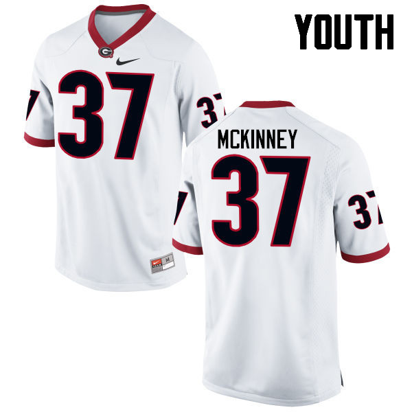 Youth Georgia Bulldogs #37 Jordon McKinney College Football Jerseys-White