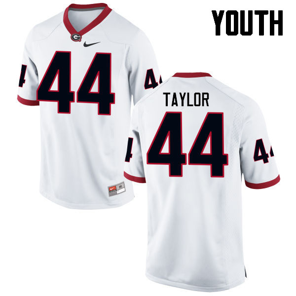 Youth Georgia Bulldogs #44 Juwan Taylor College Football Jerseys-White