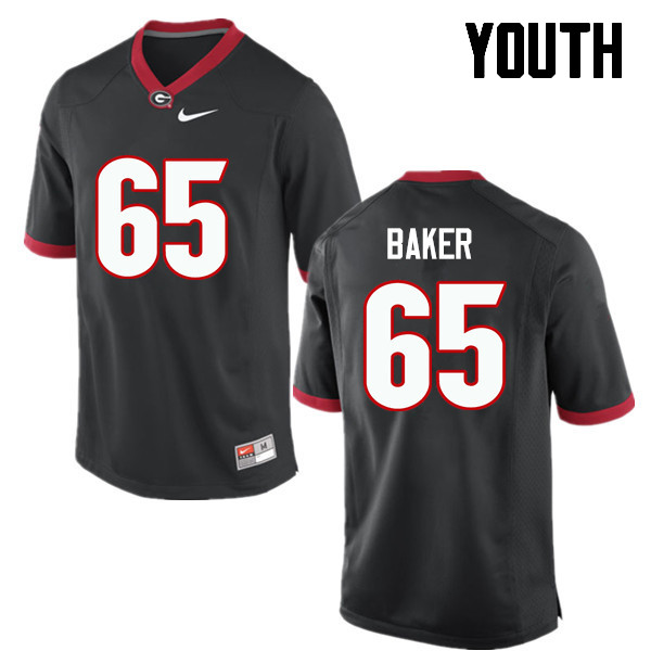 Youth Georgia Bulldogs #65 Kendall Baker College Football Jerseys-Black