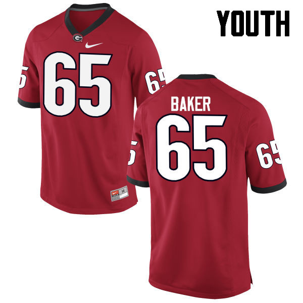 Youth Georgia Bulldogs #65 Kendall Baker College Football Jerseys-Red