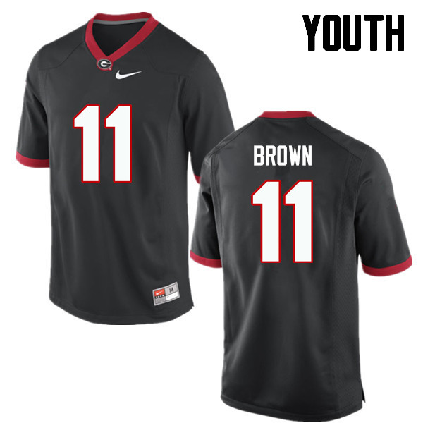 Youth Georgia Bulldogs #11 Keyon Brown College Football Jerseys-Black