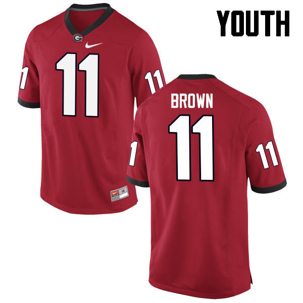 Youth Georgia Bulldogs #11 Keyon Brown College Football Jerseys-Red