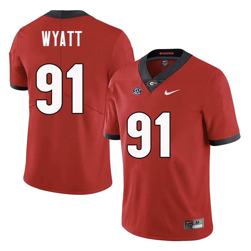 Men Georgia Bulldogs #91 Kolby Wyatt College Football Jerseys Sale-Red