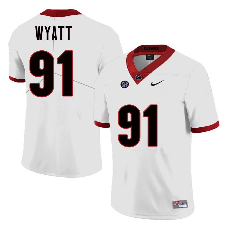 Men Georgia Bulldogs #91 Kolby Wyatt College Football Jerseys Sale-White