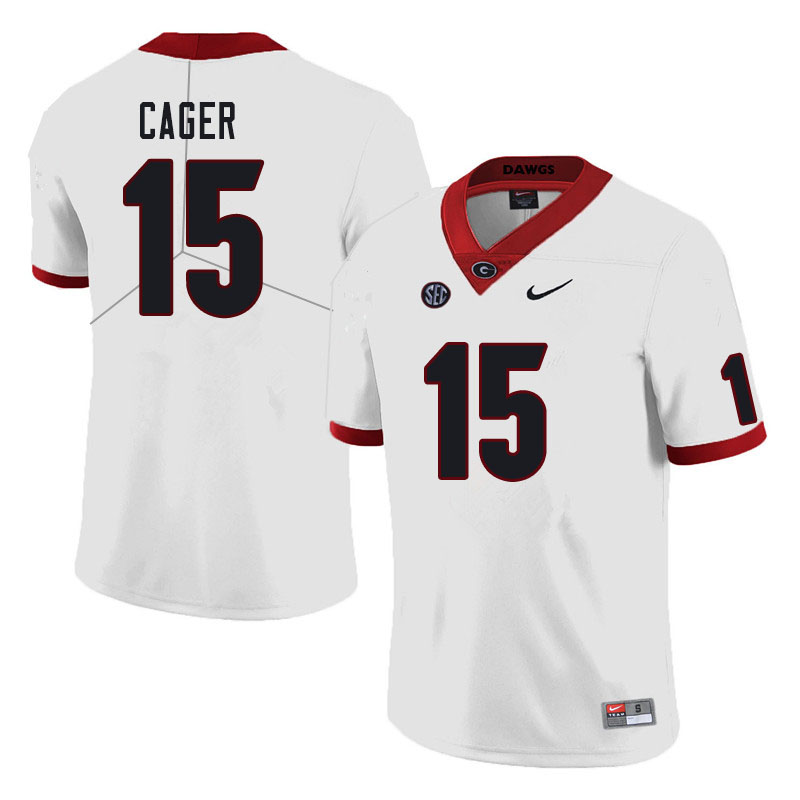 Men #15 Lawrence Cager Georgia Bulldogs College Football Jerseys Sale-White