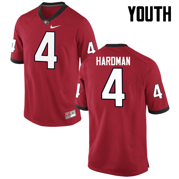 Youth Georgia Bulldogs #4 Mecole Hardman College Football Jerseys-Red