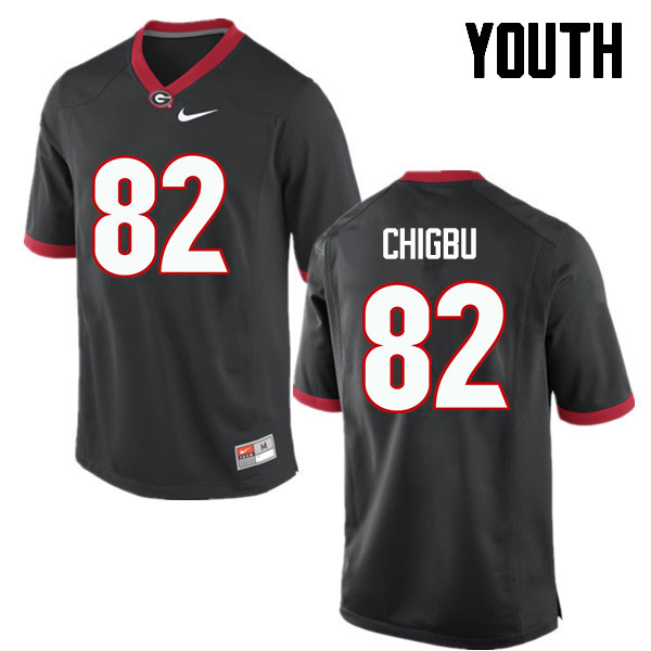 Youth Georgia Bulldogs #82 Michael Chigbu College Football Jerseys-Black