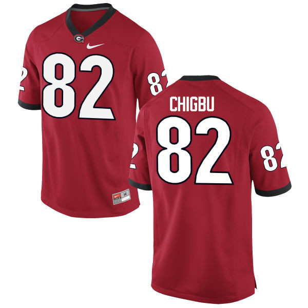 Men Georgia Bulldogs #82 Michael Chigbu College Football Jerseys-Red