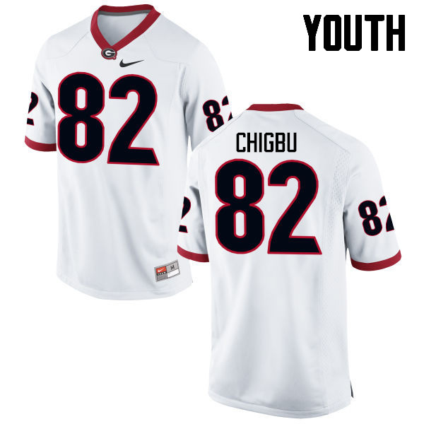 Youth Georgia Bulldogs #82 Michael Chigbu College Football Jerseys-White