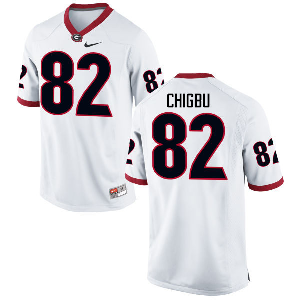 Men Georgia Bulldogs #82 Michael Chigbu College Football Jerseys-White