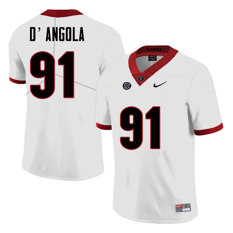 Men Georgia Bulldogs #91 Michael D'Angola College Football Jerseys Sale-White