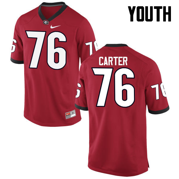 Youth Georgia Bulldogs #76 Michail Carter College Football Jerseys-Red
