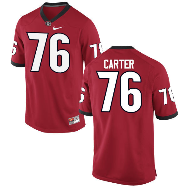Men Georgia Bulldogs #76 Michail Carter College Football Jerseys-Red