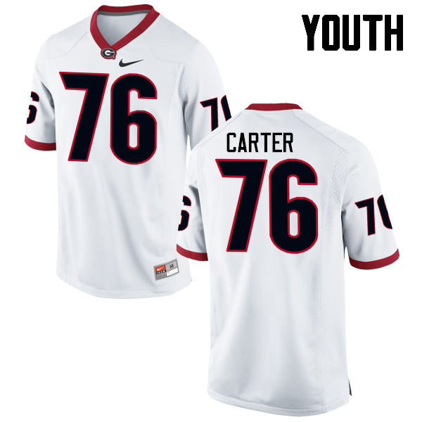 Youth Georgia Bulldogs #76 Michail Carter College Football Jerseys-White