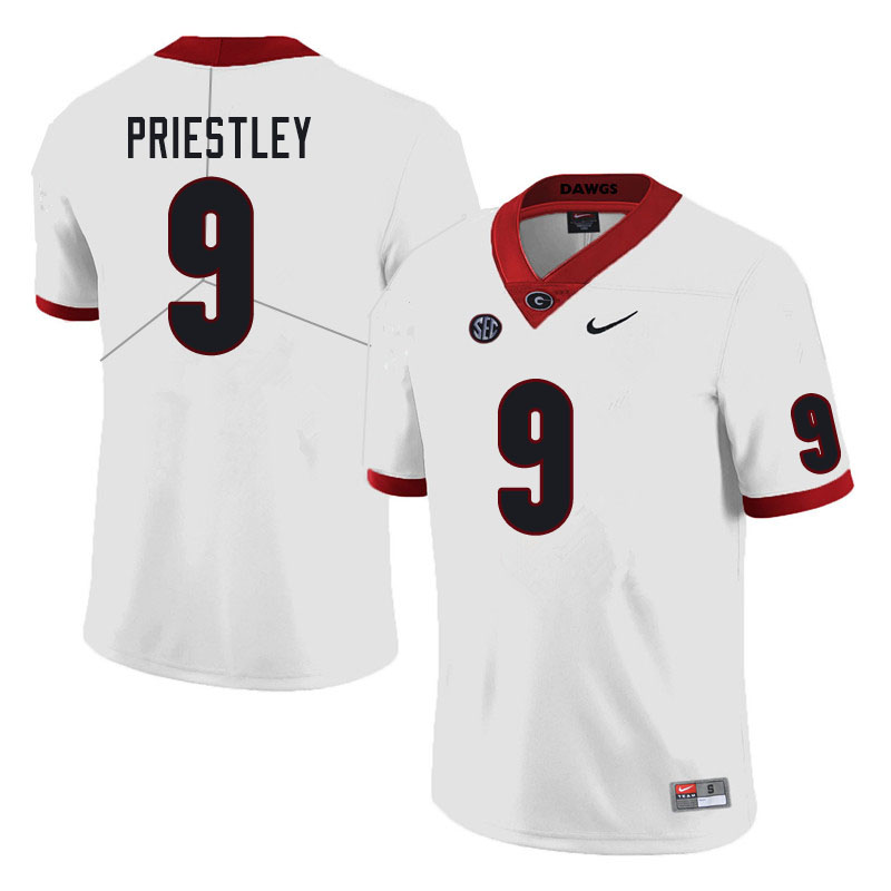 Men #9 Nathan Priestley Georgia Bulldogs College Football Jerseys Sale-White
