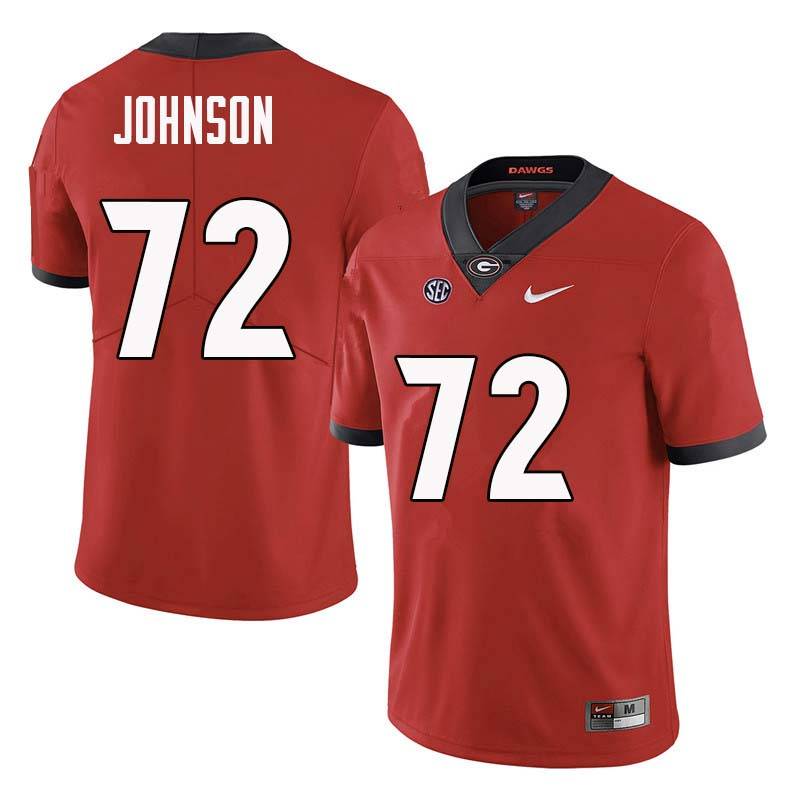 Men Georgia Bulldogs #72 Netori Johnson College Football Jerseys Sale-Red