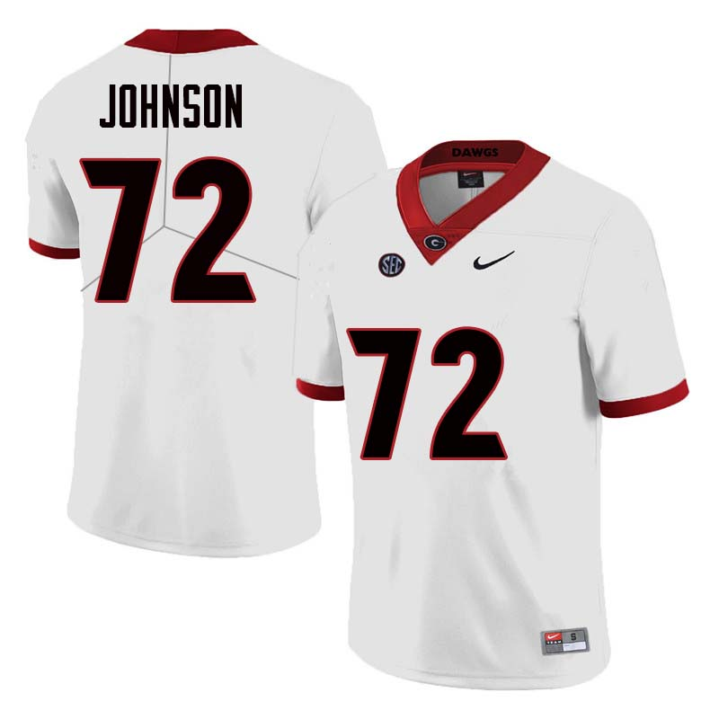 Men Georgia Bulldogs #72 Netori Johnson College Football Jerseys Sale-White