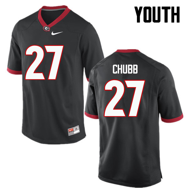 Youth Georgia Bulldogs #27 Nick Chubb College Football Jerseys-Black
