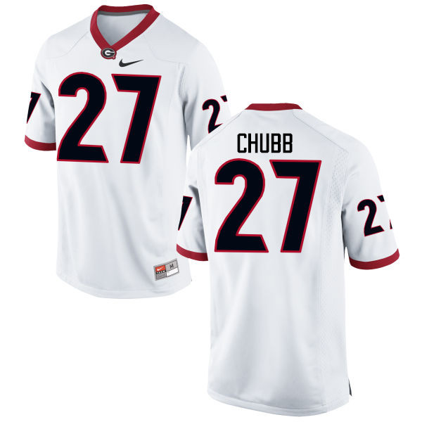 Men Georgia Bulldogs #27 Nick Chubb College Football Jerseys-White