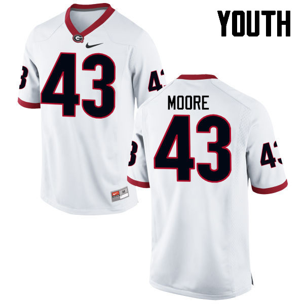 Youth Georgia Bulldogs #43 Nick Moore College Football Jerseys-White