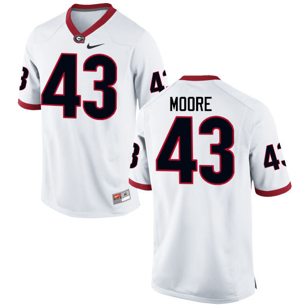 Men Georgia Bulldogs #43 Nick Moore College Football Jerseys-White