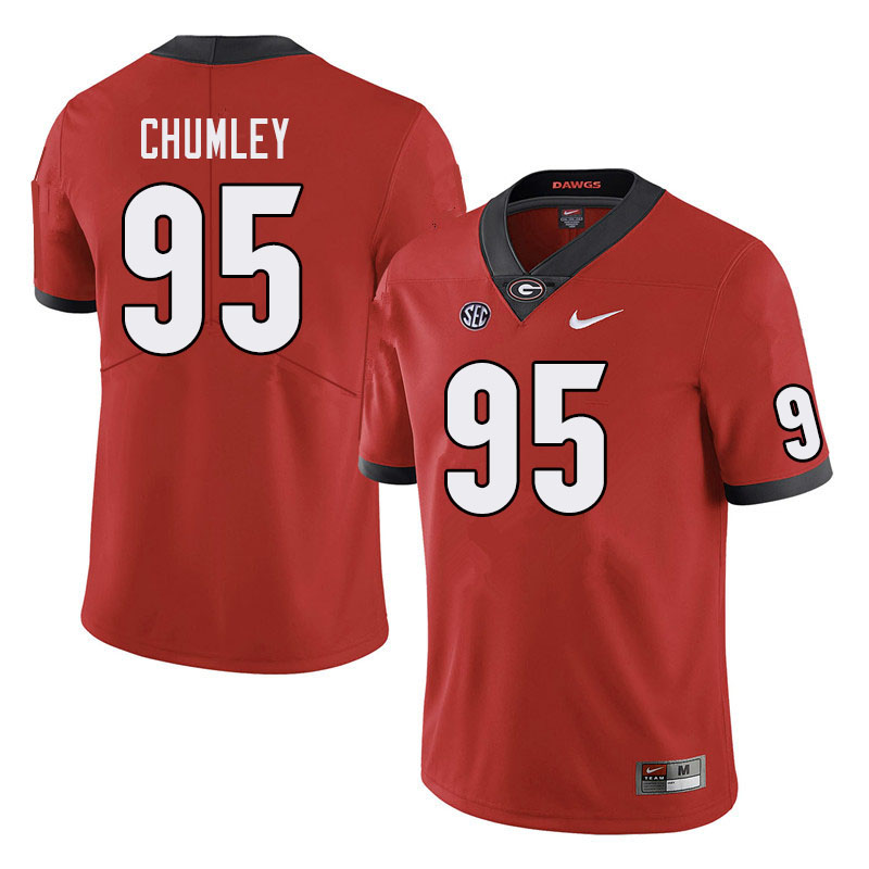 Men #95 Noah Chumley Georgia Bulldogs College Football Jerseys Sale-Red