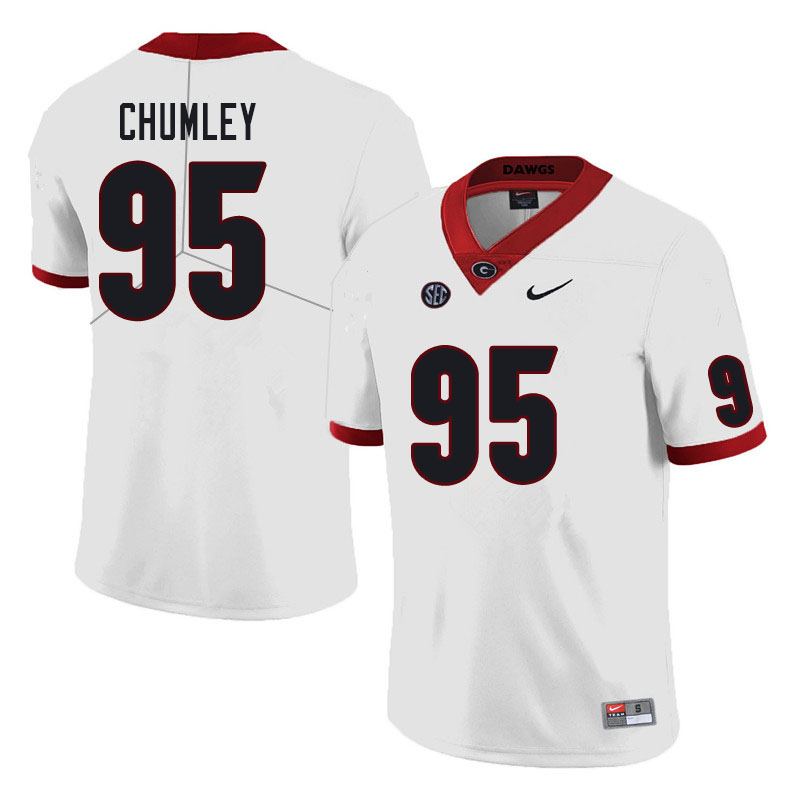 Men #95 Noah Chumley Georgia Bulldogs College Football Jerseys Sale-White
