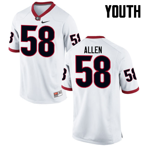 Youth Georgia Bulldogs #58 Pat Allen College Football Jerseys-White