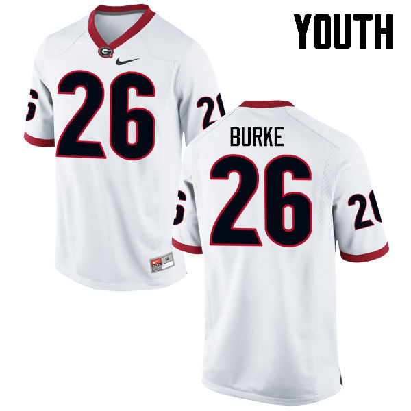 Youth Georgia Bulldogs #26 Patrick Burke College Football Jerseys-White