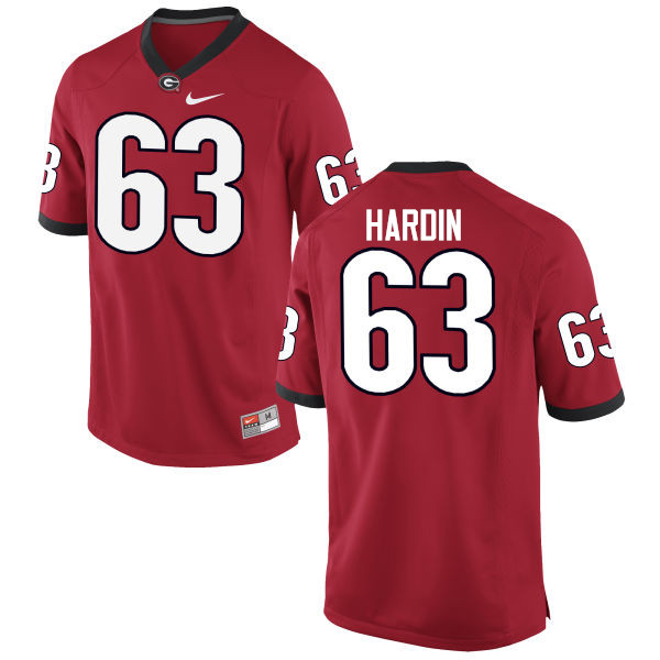 Men Georgia Bulldogs #63 Sage Hardin College Football Jerseys-Red