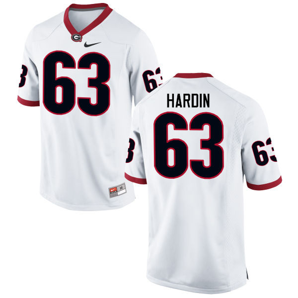 Men Georgia Bulldogs #63 Sage Hardin College Football Jerseys-White