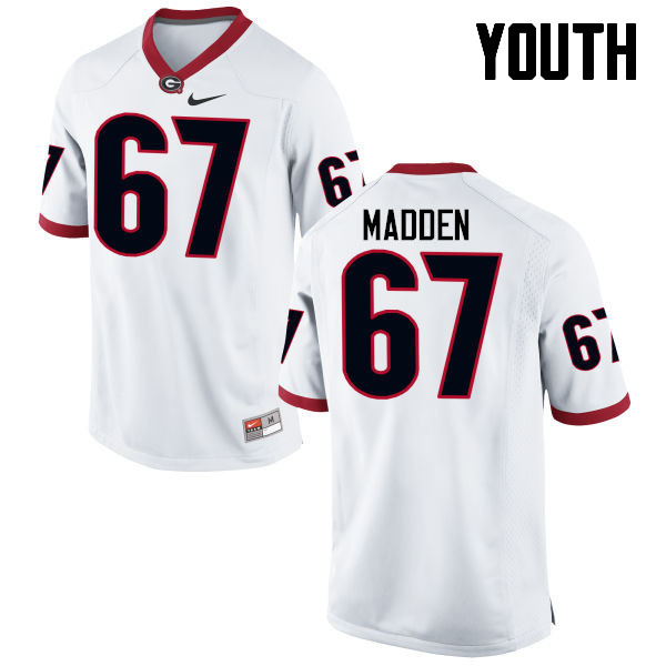 Youth Georgia Bulldogs #67 Sam Madden College Football Jerseys-White